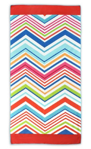 Microfibre Lightweight Beach Towel For Holiday Travel Camping Yoga Gym 70x140cm Chevron Multi
